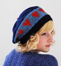 Hearts Beret on Navy