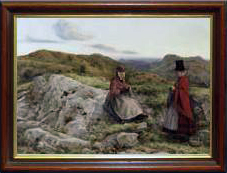 Welsh landscape with two women knitting, by William Dyce